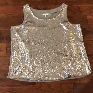 Old Navy Women's Plus Silver Sequins Tank 3X